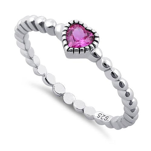 Sterling Silver Beaded Pink Heart CZ Ring