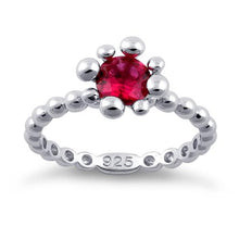 Load image into Gallery viewer, Sterling Silver Beaded Ruby Round CZ Ring
