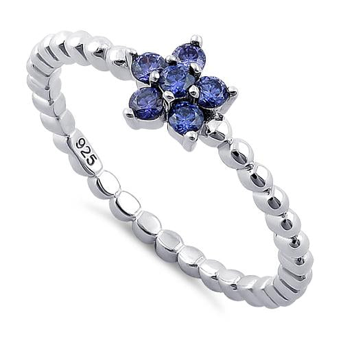 Sterling Silver Beaded Tanzanite Plumeria Flower CZ Ring