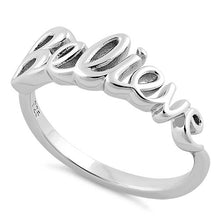 "Load image into Gallery viewer, Sterling Silver ""Believe"" Ring"
