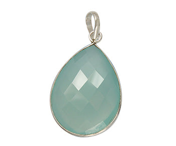 Sterling Silver Bezelled Pendant Sea Green Chalcedony Pear