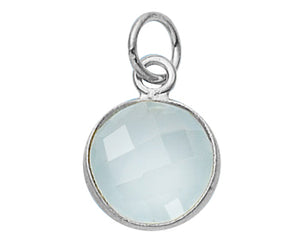 Sterling Silver Bezelled Pendant Sea Green Chalcedony Round 11mm