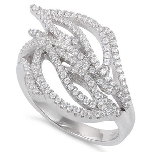Sterling Silver Big Leaves CZ Ring