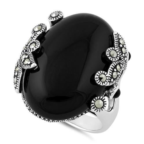 Sterling Silver Big Oval Black Onyx Floral Marcasite Ring