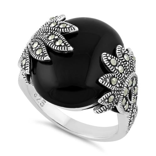 Sterling Silver Big Round Black Onyx Floral Marcasite Ring