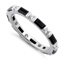 Load image into Gallery viewer, Sterling Silver Black and White CZ Eternity Ring