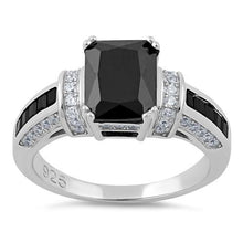 Load image into Gallery viewer, Sterling Silver Black Emerald Cut Black CZ Ring