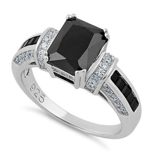 Sterling Silver Black Emerald Cut Black CZ Ring