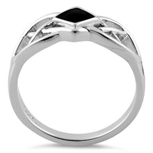 Load image into Gallery viewer, Sterling Silver Synthetic Black Onyx Celtic Ring