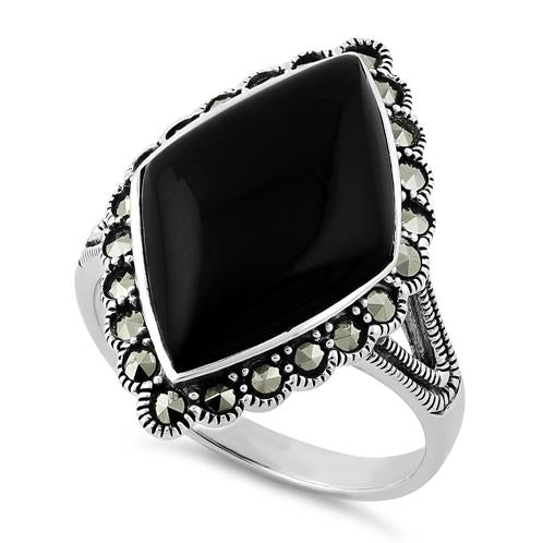 Sterling Silver Black Onyx Diamond Shape Marcasite Ring