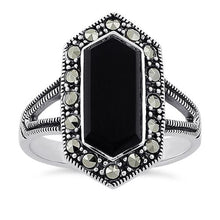 Load image into Gallery viewer, Sterling Silver Black Onyx Diamond Shaped Marcasite Ring
