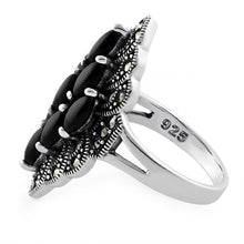 Load image into Gallery viewer, Sterling Silver Black Onyx Marquise Marcasite Ring
