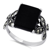 Load image into Gallery viewer, Sterling Silver Black Onyx Square Butterfly Marcasite Ring