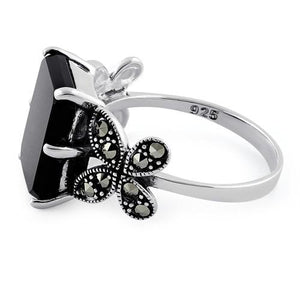 Sterling Silver Black Onyx Square Butterfly Marcasite Ring