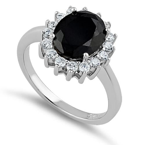Sterling Silver Black Oval CZ Ring