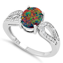 Load image into Gallery viewer, Sterling Silver Black Oval Lab Opal CZ Ring