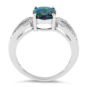 Sterling Silver Black Oval Lab Opal CZ Ring