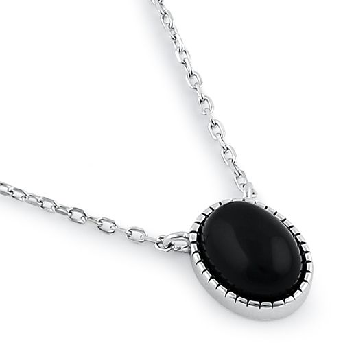 Sterling Silver Black Agate Oval Stone Necklace