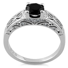 Load image into Gallery viewer, Sterling Silver Black Round Cut Engagement CZ Ring