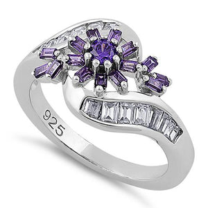 Sterling Silver Blooming Flower Amethyst CZ Ring
