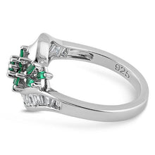 Load image into Gallery viewer, Sterling Silver Blooming Flower Emerald CZ Ring