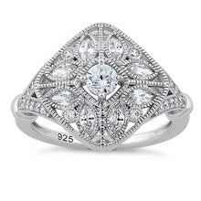 Load image into Gallery viewer, Sterling Silver Blooming Flower Round Cut Clear CZ Ring