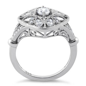 Sterling Silver Blooming Flower Round Cut Clear CZ Ring