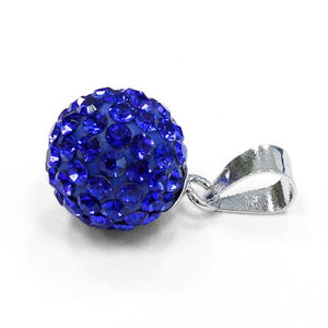 Sterling Silver Blue CZ Ball Pendant