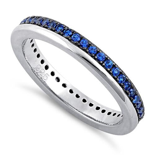 Sterling Silver Blue CZ Eternity Band