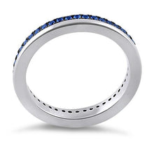 Load image into Gallery viewer, Sterling Silver Blue CZ Eternity Band