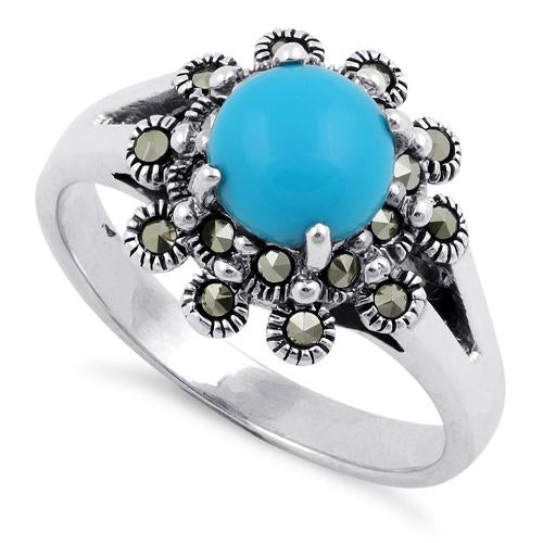 Sterling Silver Simulated Turquoise Flower Marcasite Ring