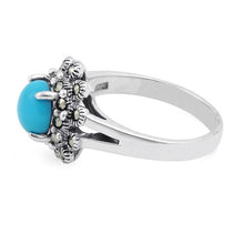 Load image into Gallery viewer, Sterling Silver Simulated Turquoise Flower Marcasite Ring