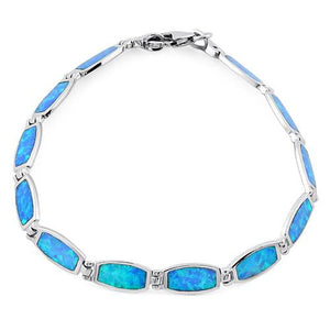 Sterling Silver Blue Lab Opal Bracelet