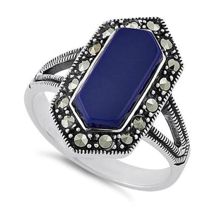 Sterling Silver Blue Lapis Diamond Shaped Marcasite Ring
