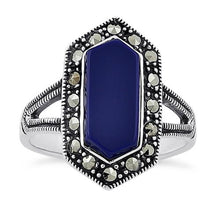 Load image into Gallery viewer, Sterling Silver Blue Lapis Diamond Shaped Marcasite Ring