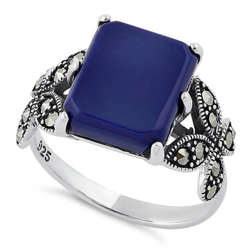 Sterling Silver Blue Lapis Square Butterfly Marcasite Ring