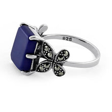Load image into Gallery viewer, Sterling Silver Blue Lapis Square Butterfly Marcasite Ring