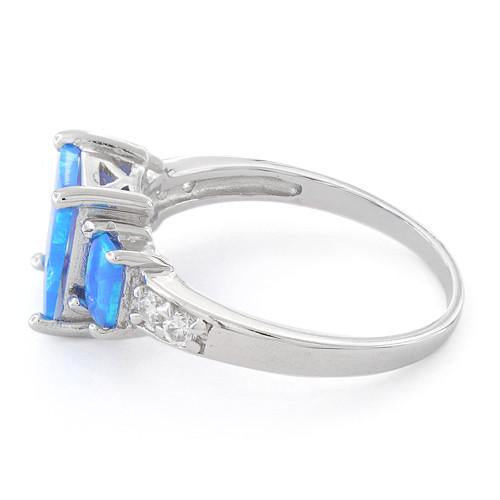 Sterling Silver Blue Lab Opal Square CZ Ring