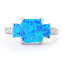 Load image into Gallery viewer, Sterling Silver Blue Lab Opal Square CZ Ring