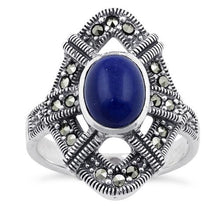 Load image into Gallery viewer, Sterling Silver Blue Lapis Oval Marcasite Ring