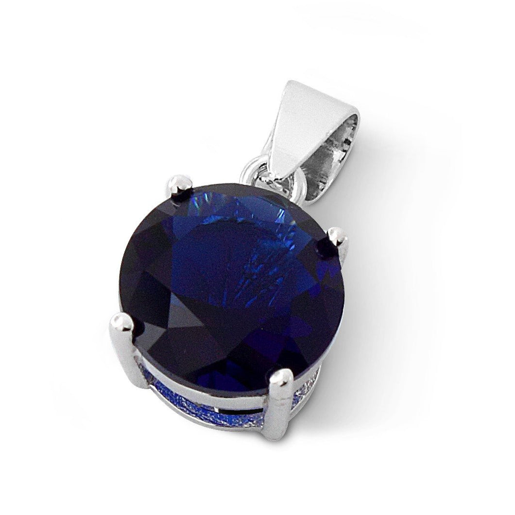 Sterling Silver Blue Round CZ 10mm Pendant