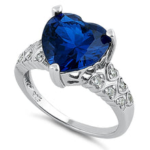 Load image into Gallery viewer, Sterling Silver Blue Sapphire Heart Shape CZ Ring