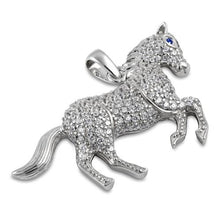 Load image into Gallery viewer, Sterling Silver Blue Sapphire Eyed Horse CZ Pendant