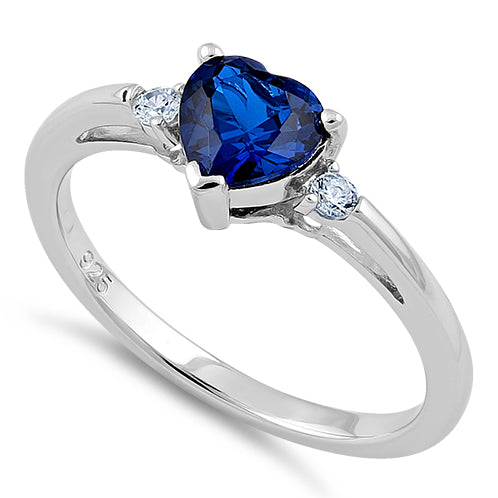 Sterling Silver Blue Sapphire Heart CZ Ring