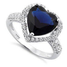 Load image into Gallery viewer, Sterling Silver Blue Sapphire Heart Halo CZ Ring