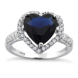 Sterling Silver Blue Sapphire Heart Halo CZ Ring