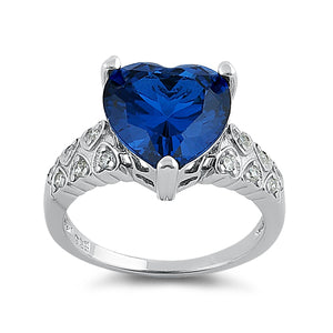 Sterling Silver Blue Sapphire Heart Shape CZ Ring