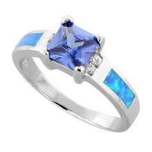 Load image into Gallery viewer, Sterling Silver Square Tanzanite Lab Opal CZ Ring