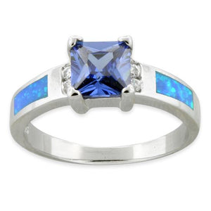 Sterling Silver Square Tanzanite Lab Opal CZ Ring