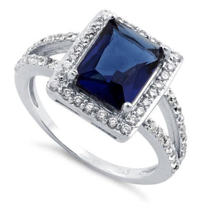 Sterling Silver Blue Sapphire Rectangular Halo CZ Ring